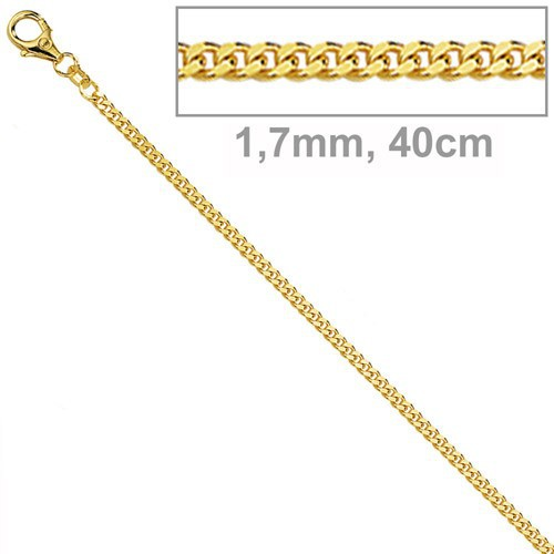 1,7mm Panzerkette Panzer Kette Collier, 585 Gold Gelbgold, 40 cm