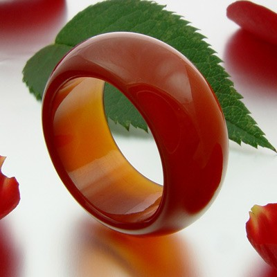 Fingerring Ring aus Karneol glatt rot-orange schlicht