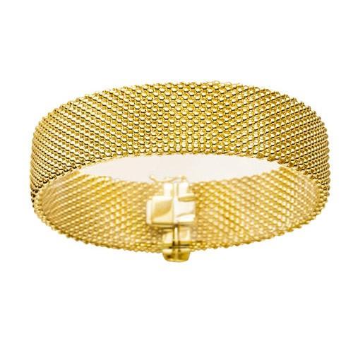 10mm milanese armschmuck armband armreif aus 585 gold gelbgold 21cm damen ebay. Black Bedroom Furniture Sets. Home Design Ideas