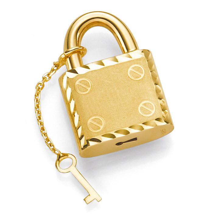 anh nger schloss mit schl ssel 585 gold gelbgold 13 5x20mm. Black Bedroom Furniture Sets. Home Design Ideas