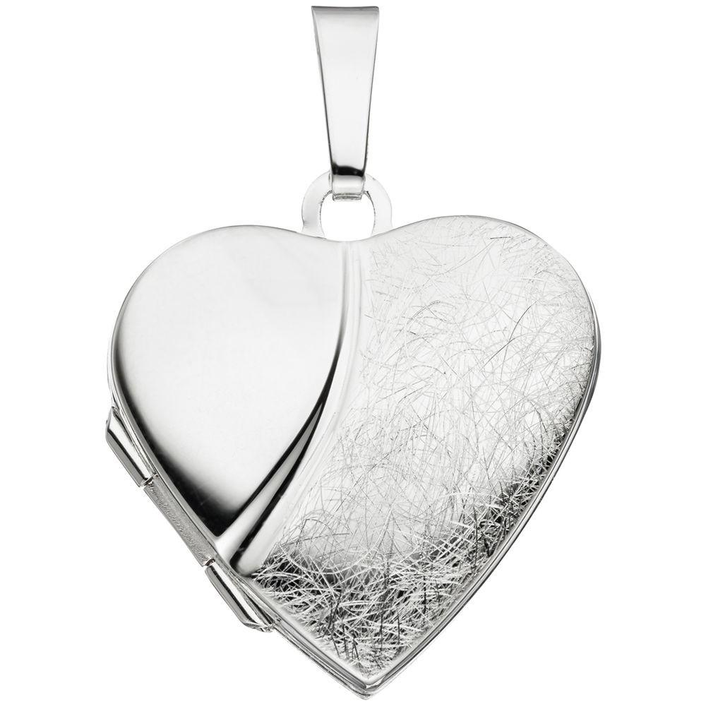 Herz - Medaillon Amulett Anhänger zum Öffnen 925 Silber Halsschmuck Unisex