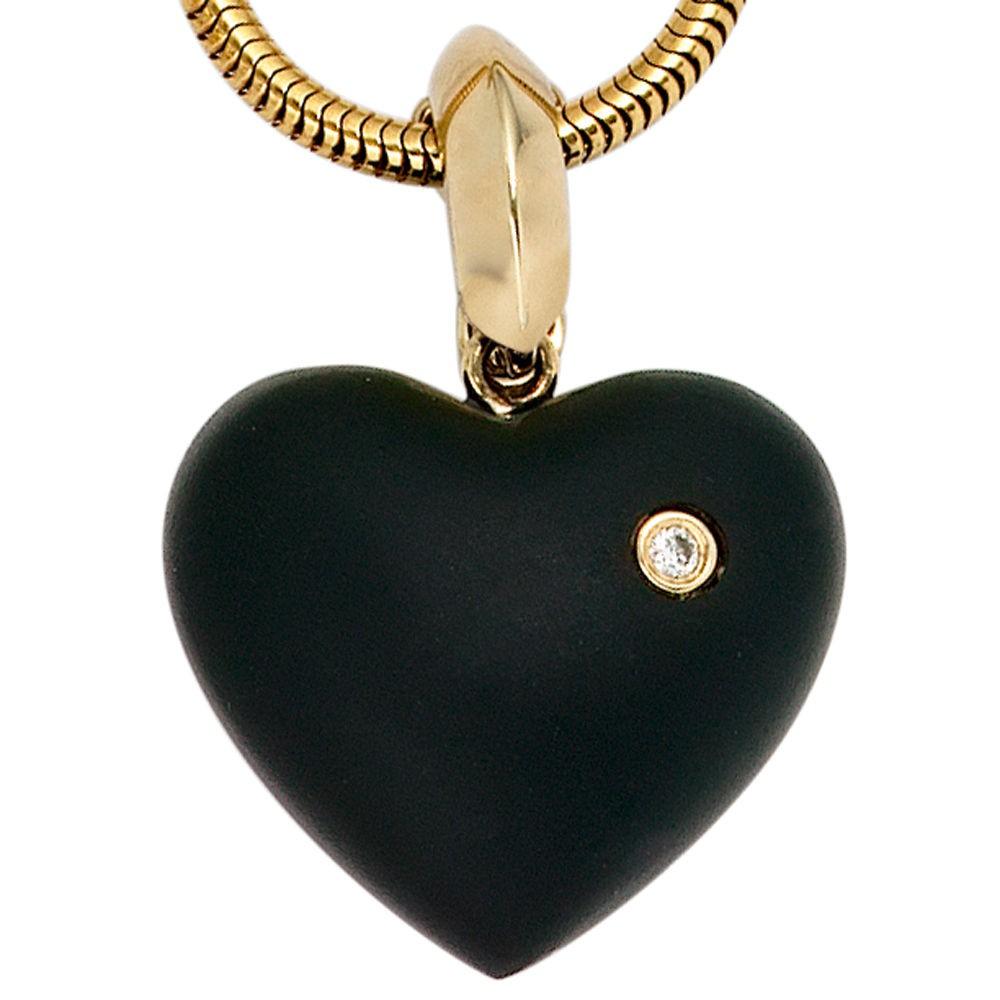 herz anh nger einh nger brillant onyx schwarz 585 gold. Black Bedroom Furniture Sets. Home Design Ideas