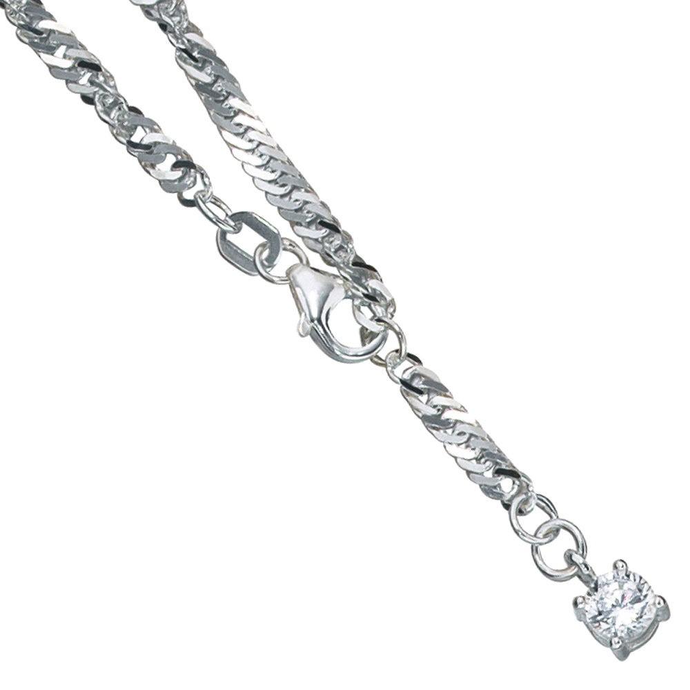 Fußkettchen Fußkette mit Zirkonia 925 Silber 25cm Fußschmuck Damen