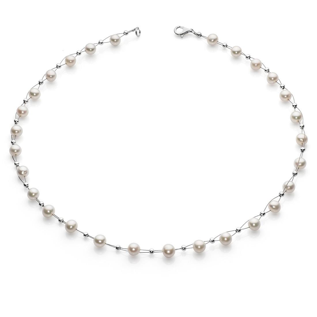 perlenkette kette collier halskette echte s wasser perlen creme wei halsschmuck damen. Black Bedroom Furniture Sets. Home Design Ideas