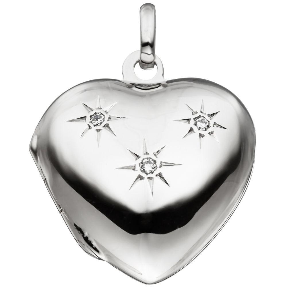 Medaillon Amulett Anhänger zum Öffnen Herz 925 Silber glänzend Zirkonia Damen