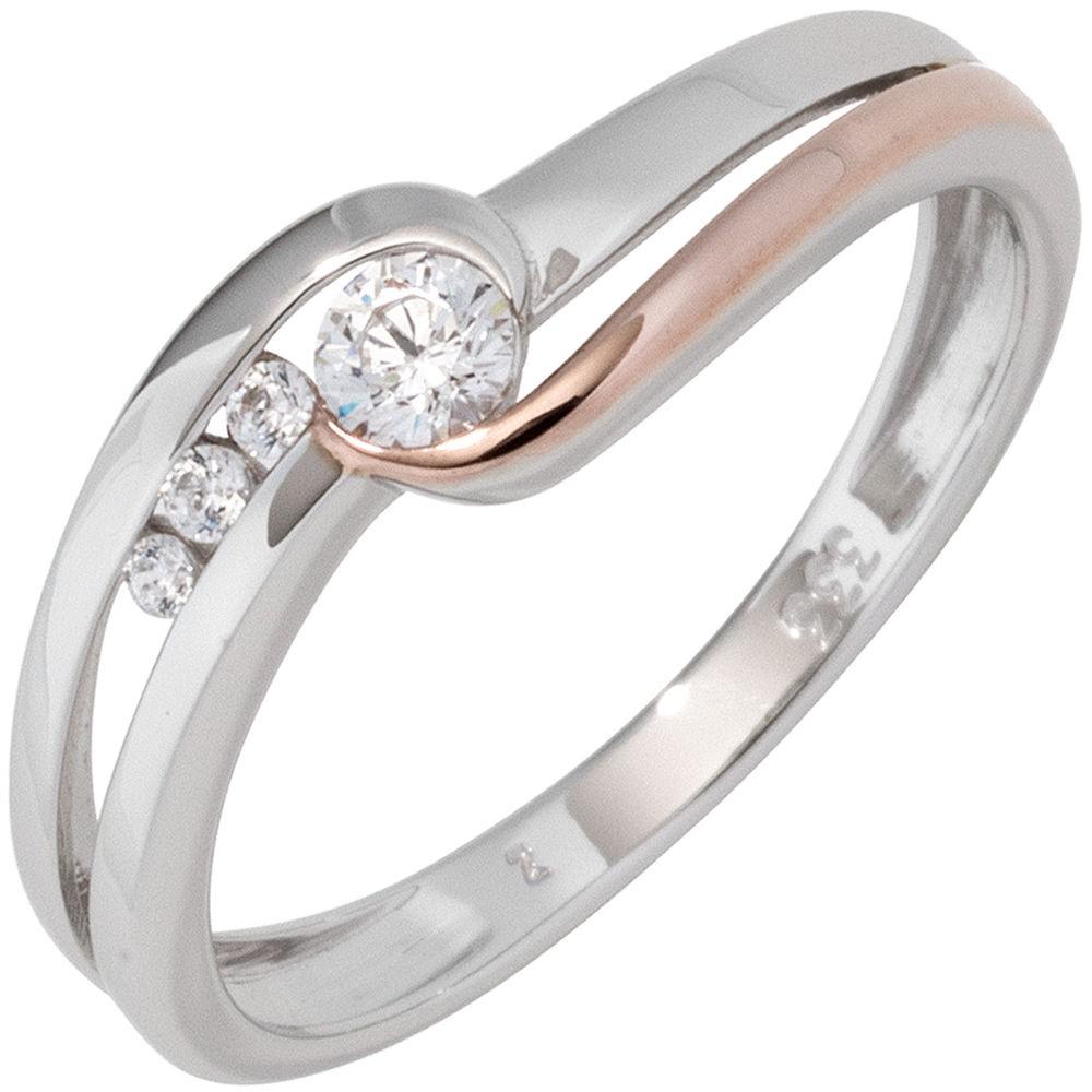 Weißgold ring  Ring Damenring mit weißen Zirkonia, schlicht, 333 Gold Weißgold ...