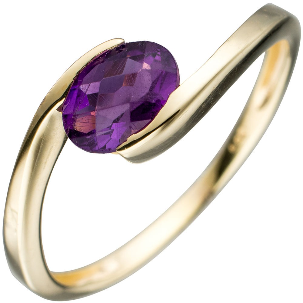ring damenring goldring mit amethyst violett lila oval 333 gold gelbgold damen. Black Bedroom Furniture Sets. Home Design Ideas