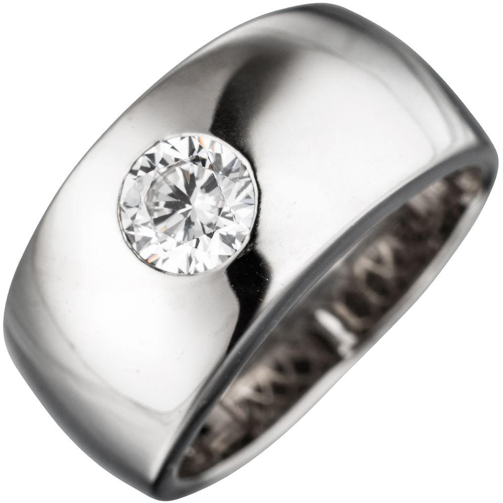 Breiter Ring Damenring mit Zirkonia weiß glänzend 925 Silber Silberring