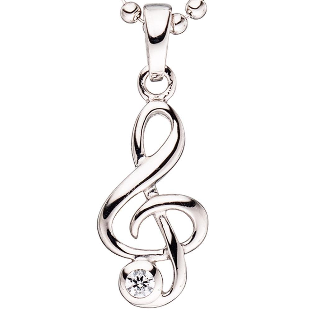 Anhänger Musik Notenschlüssel mit Zirkonia weiß 925 Silber Kinder