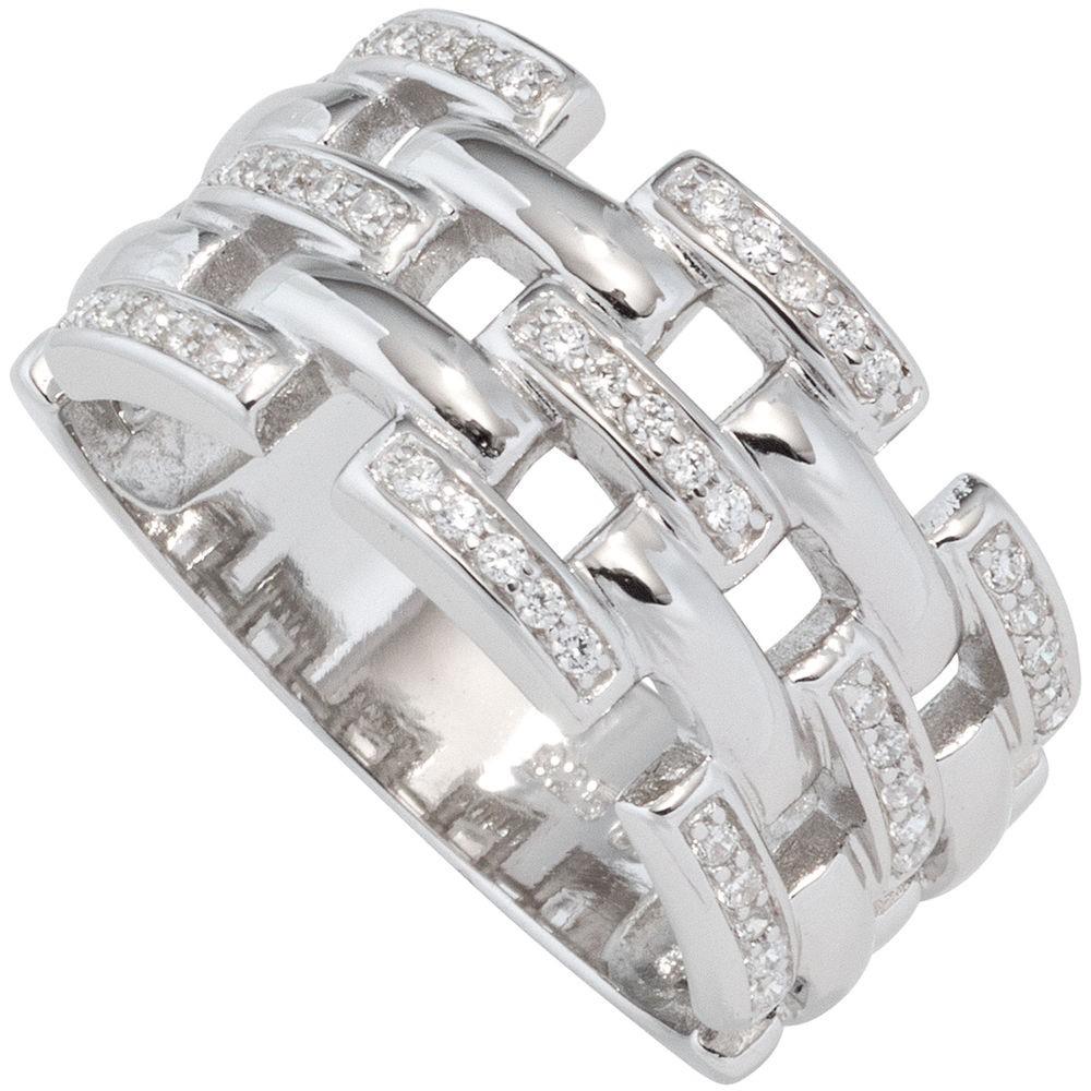 Breiter Ring Damenring mit Zirkonia weiß 925 Silber rhodiniert Silberring