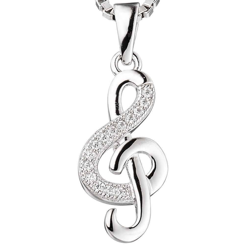 Anhänger Notenschlüssel Musiknote weiße Zirkonia 925 Silber Halsschmuck Damen