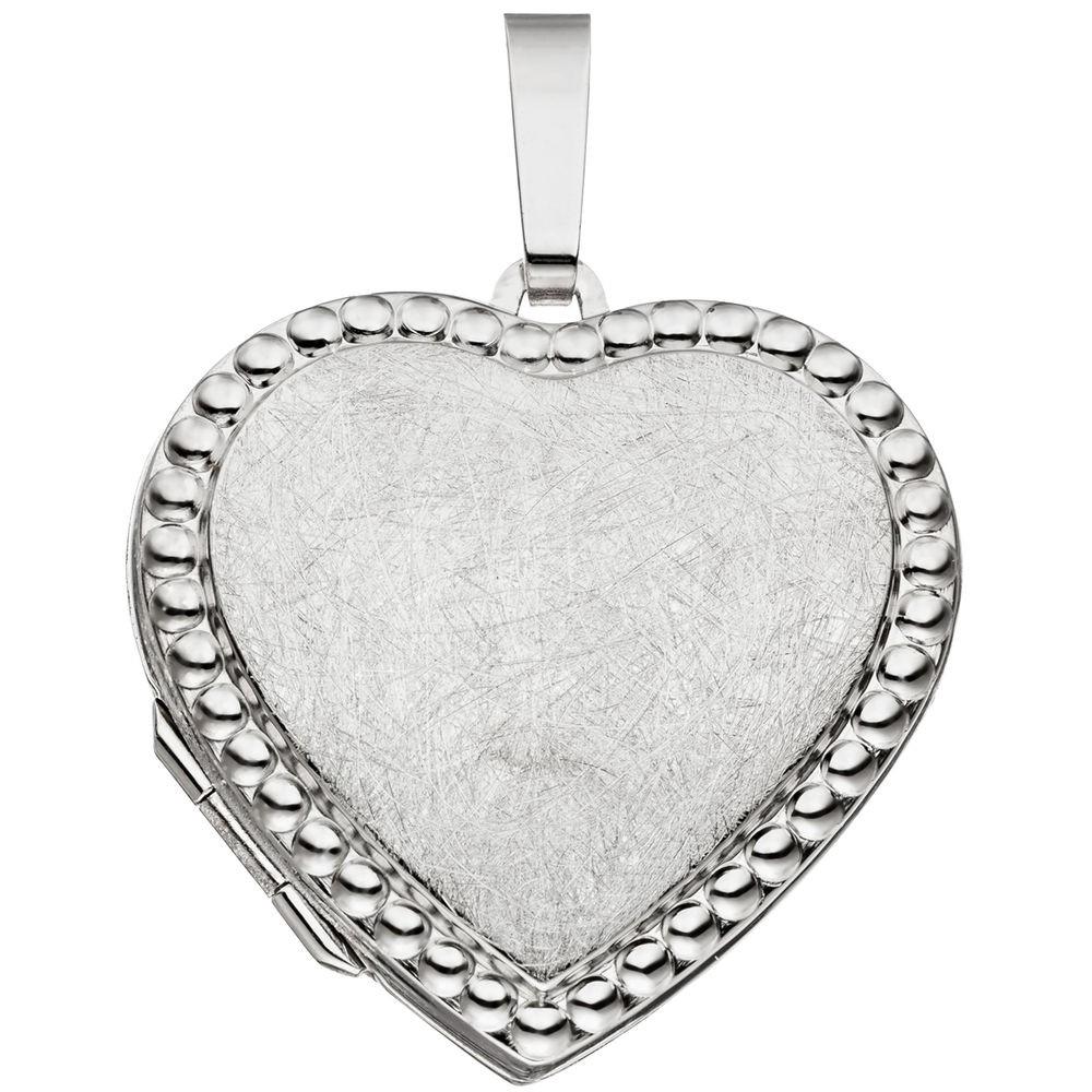 Medaillon für 2 Fotos Amulett Herz gebürstet Anhänger zum Öffnen 925 Silber