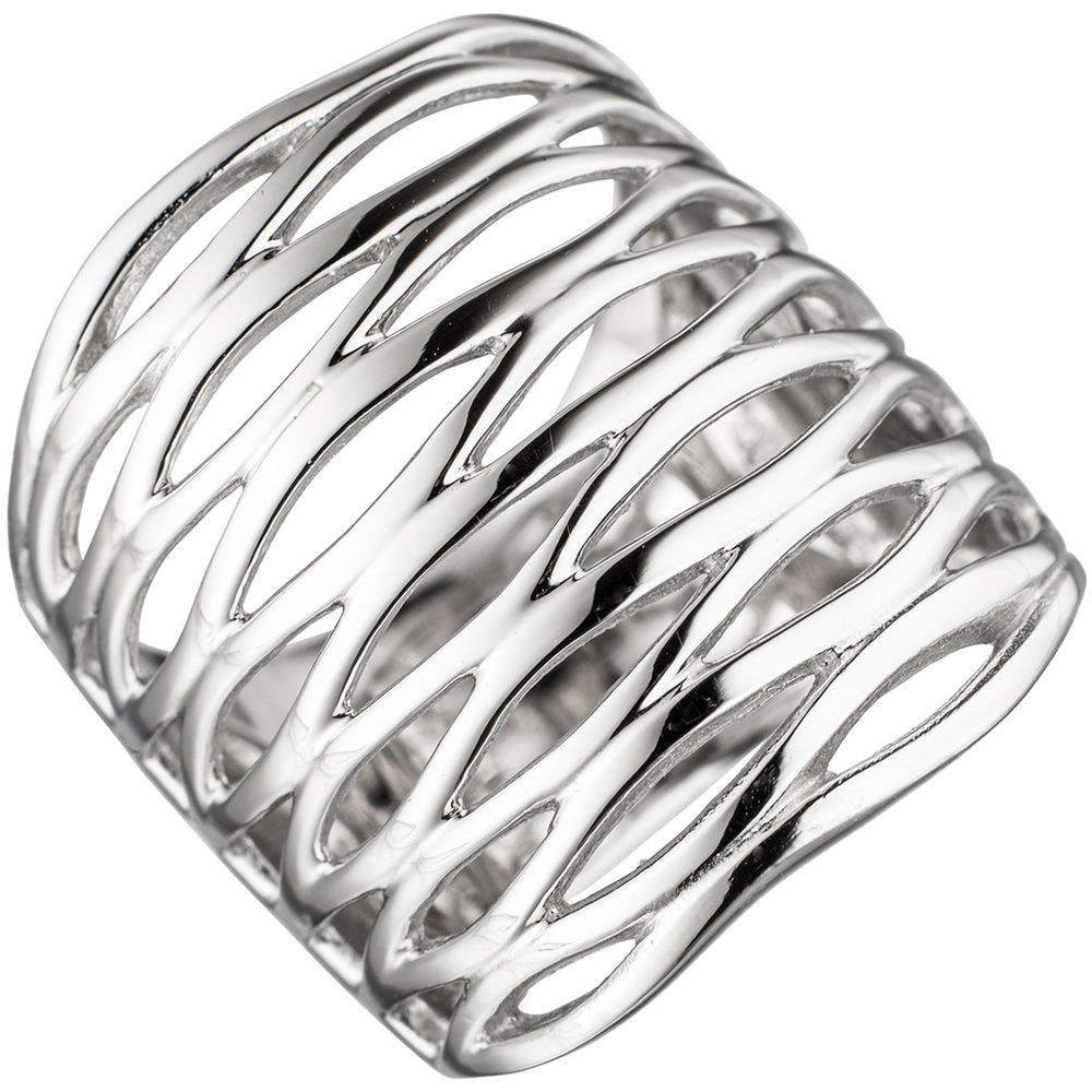 Breiter Silberring Ring Damenring 24,6mm breit 925 Silber rhodiniert Damen