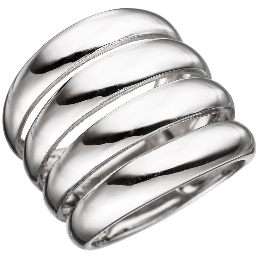 Breiter Ring Damenring mit Wölbungen 21mm breit 925 Silber rhodiniert Damen