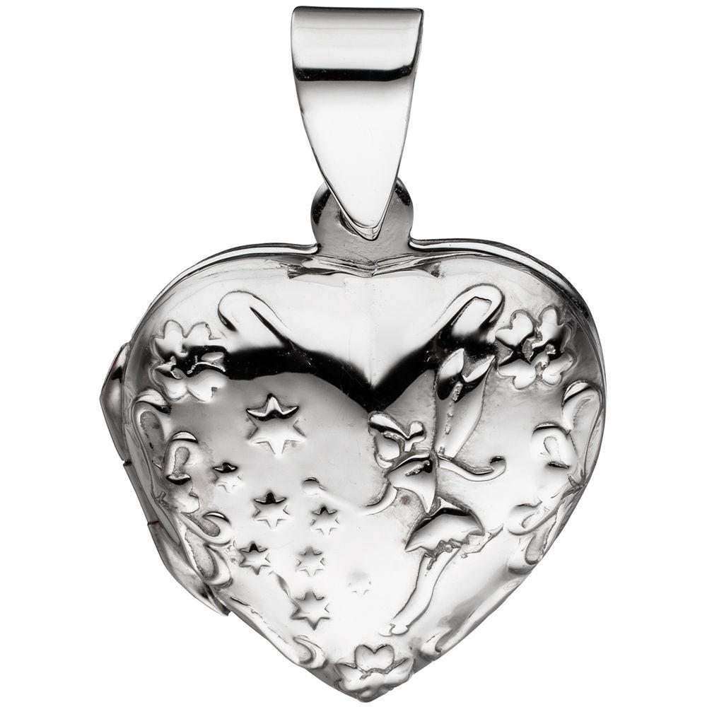 Medaillon für 2 Fotos Herz believe Amulett Anhänger zum Öffnen aus 925 Silber