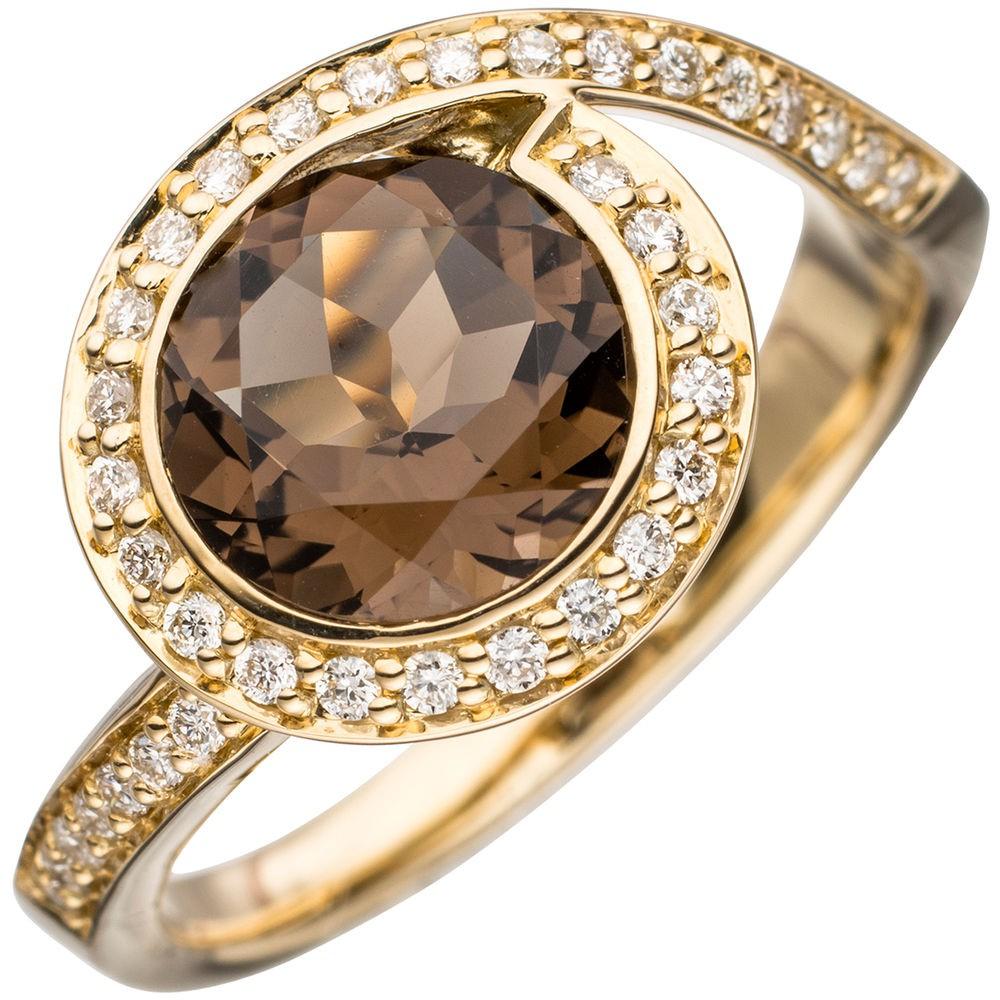 ring damenring mit rauchquarz braun 36 diamanten brillanten 585 gold gelbgold. Black Bedroom Furniture Sets. Home Design Ideas