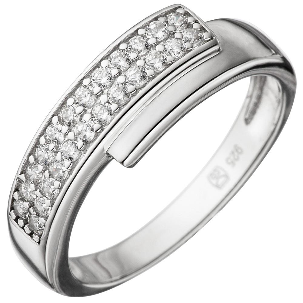 Eleganter Ring Damenring mit Zirkonia weiß 925 Silber Sterlingsilber 6,2mm breit