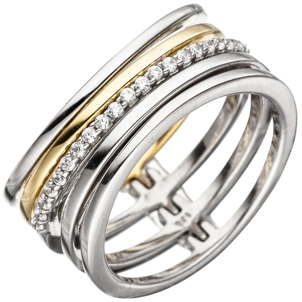 Breiter Ring Damenring 5-reihig mit Zirkonia weiß 925 Silber teilvergoldet