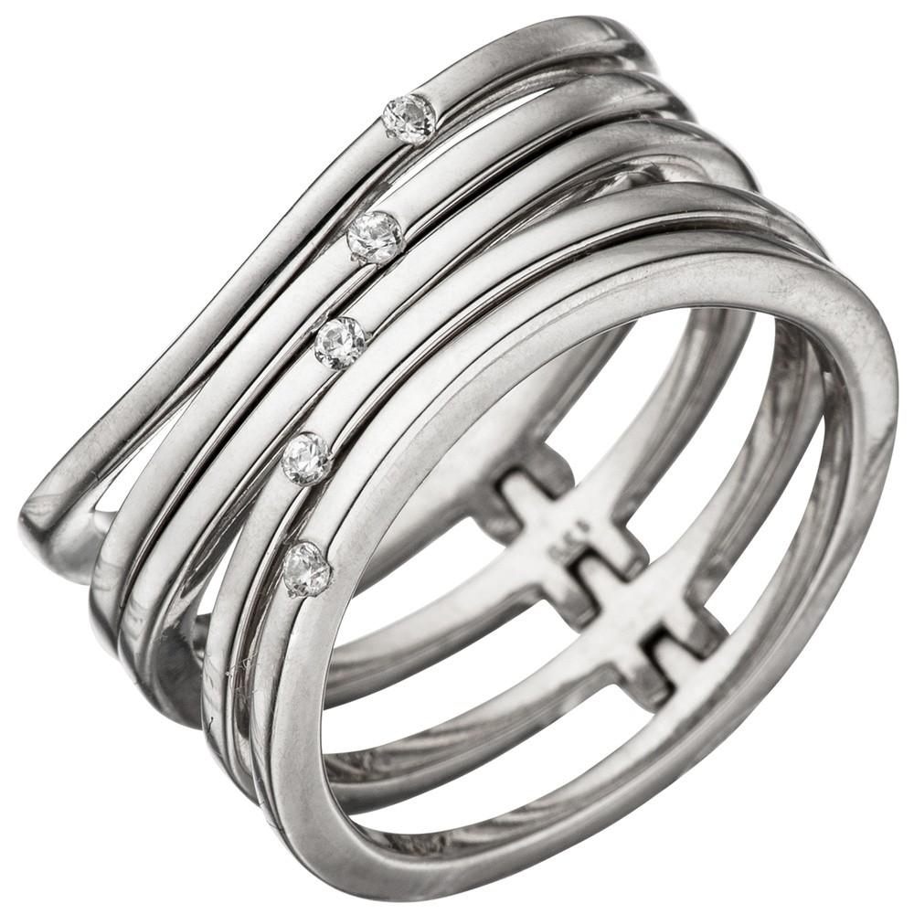 Breiter Ring Damenring 5-reihig mit Zirkonia 925 Silber Fingerschmuck mehrreihig