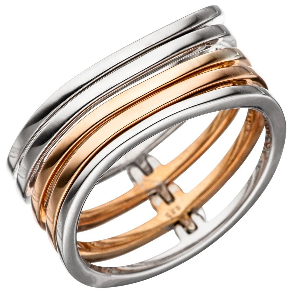 Breiter Ring Damenring 5-reihig 925 Silber teilvergoldet Silberring mehrreihig