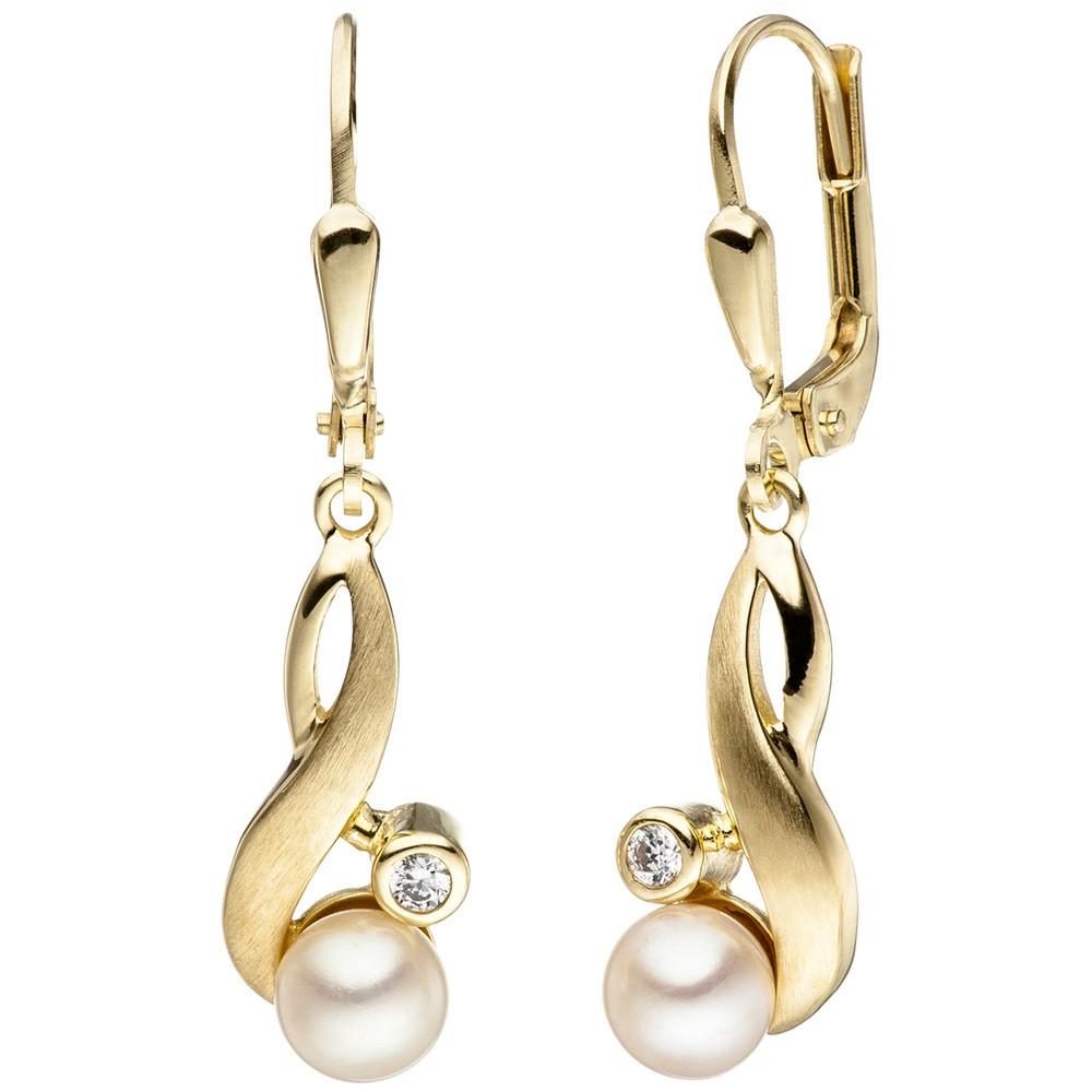 Ohrhänger Ohrringe & Zeichen Süßwasser Perlen Zirkonia 333 Gold Gelbgold matt