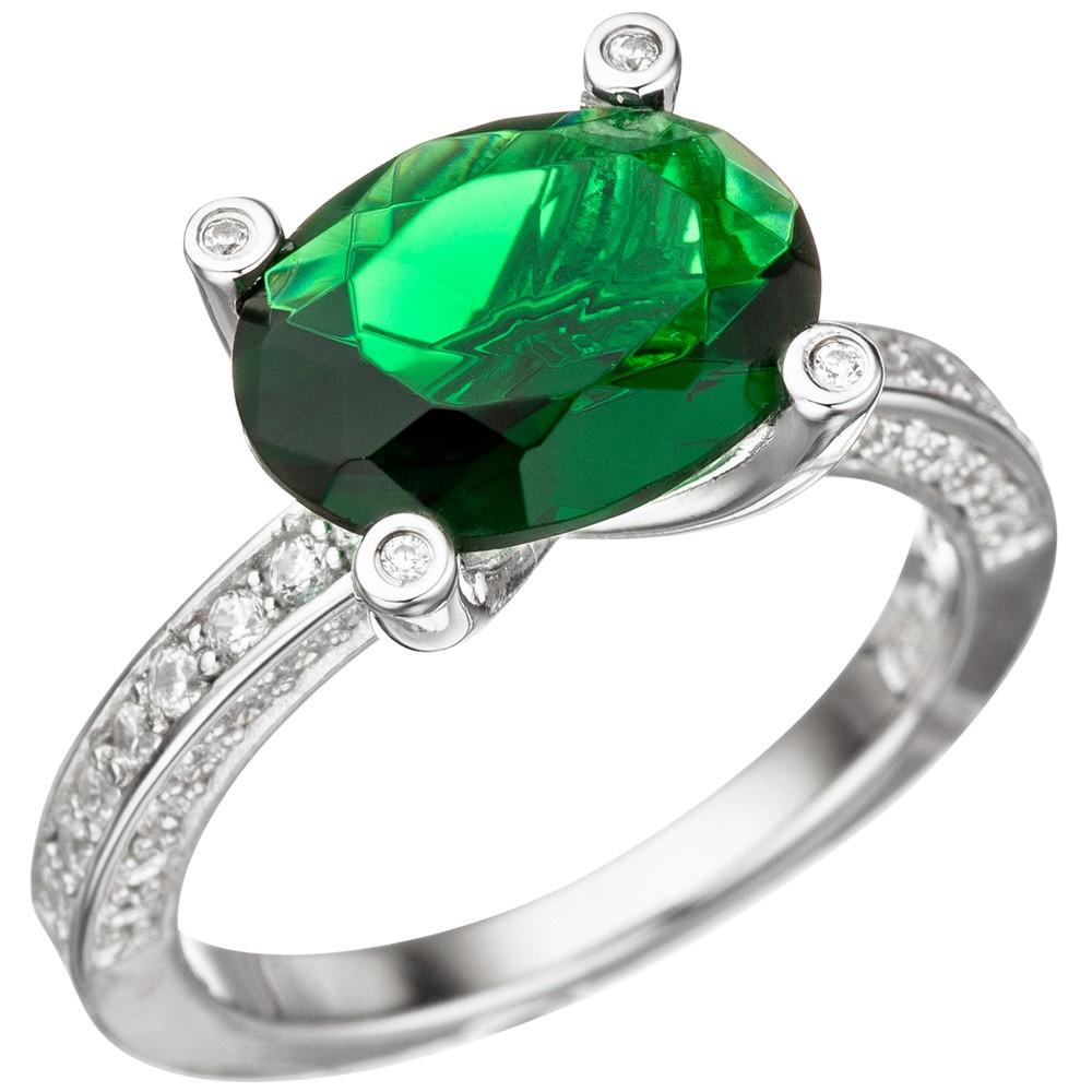 Ring Damenring Zirkonia grün oval geschliffen 925 Silber Fingerring Silberring