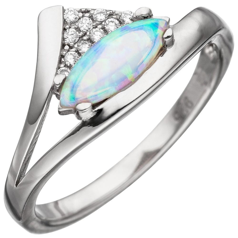 Ring Damenring mit Opal hellblau spitzoval & Zirkonia weiß 925 Silber rhodiniert