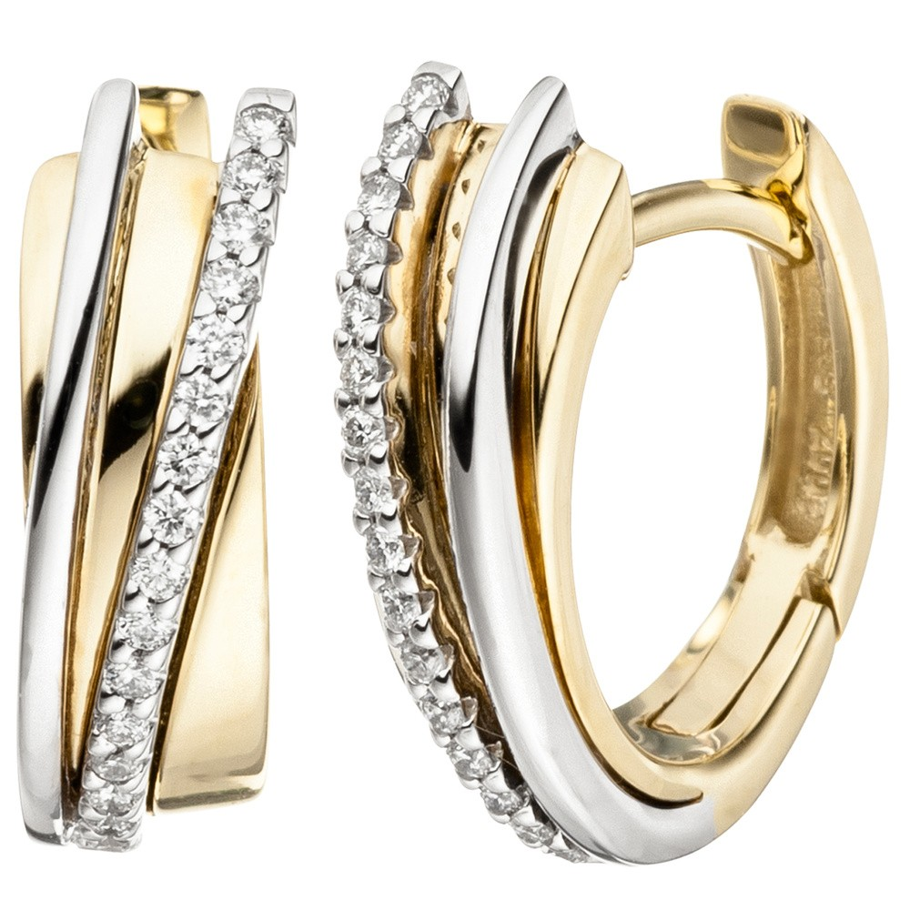 ohrringe creolen mit 32 diamanten brillanten 585 gold. Black Bedroom Furniture Sets. Home Design Ideas