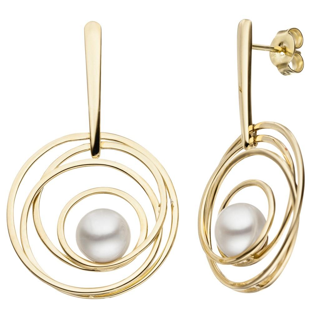 Ohrringe Ohrhänger Kreise 585 Gold Gelbgold weiße Süßwasser Perlen Ohrschmuck
