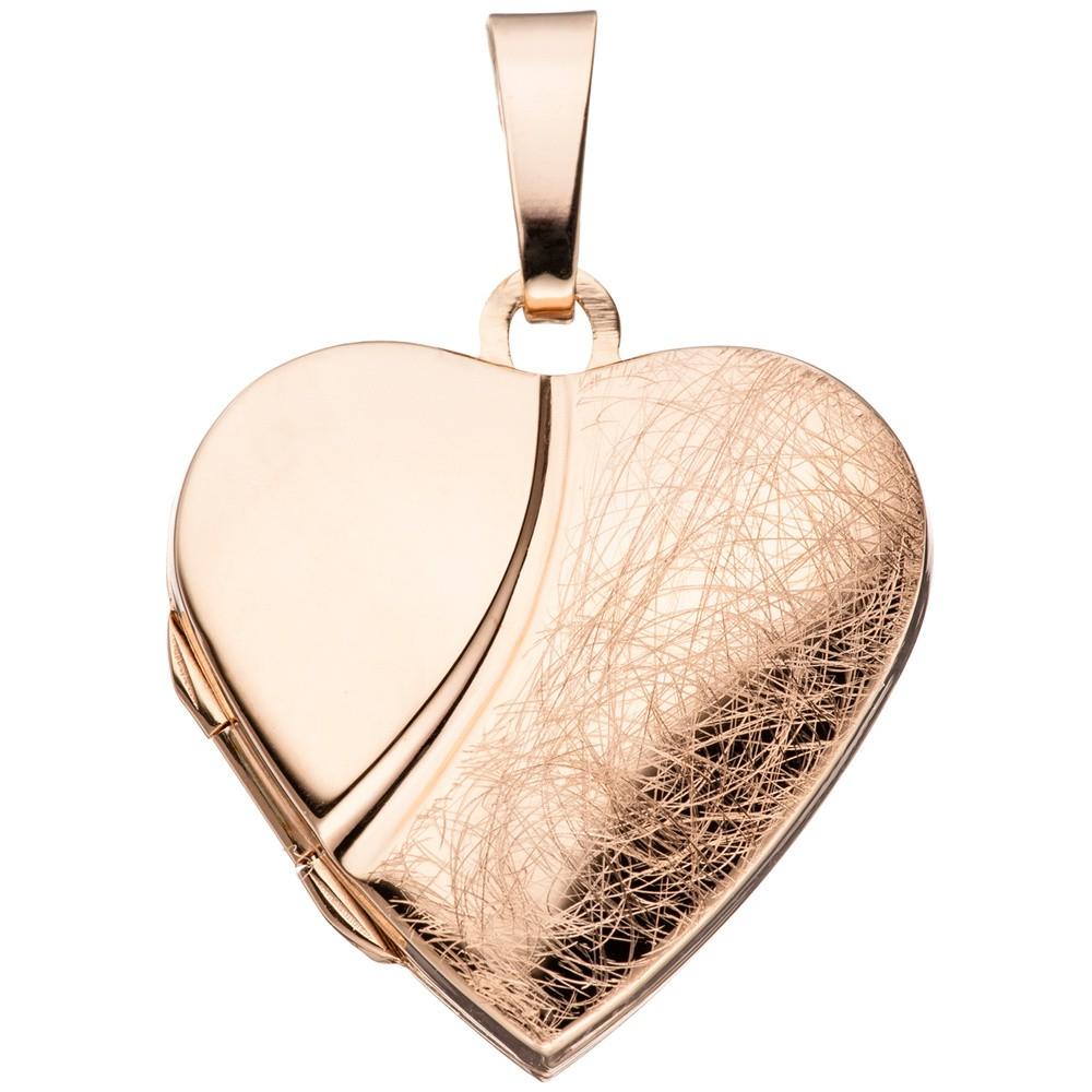 Herz - Medaillon Amulett Anhänger zum Öffnen 925 Silber rotgold vergoldet