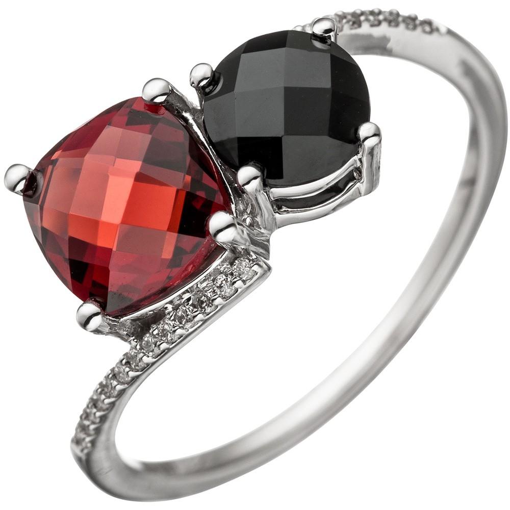 Ring Damenring 24 Diamanten Brillanten Granat rot Onyx schwarz 585 Gold Weißgold