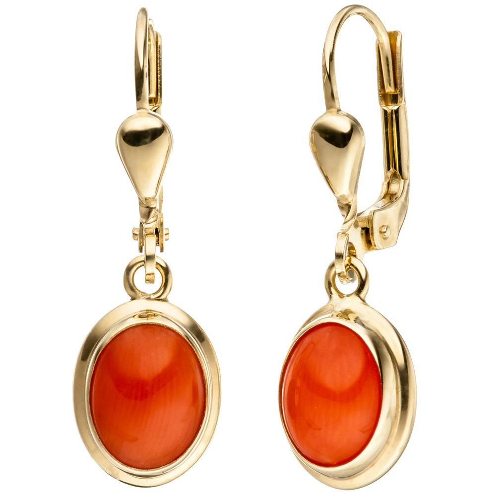 ohrringe ohrh nger brisur mit korallen orange oval 333. Black Bedroom Furniture Sets. Home Design Ideas