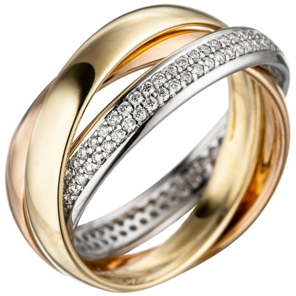 Ring Damenring mit 122 Diamanten Brillanten, 585 Gold gelb/weiß/rot ...