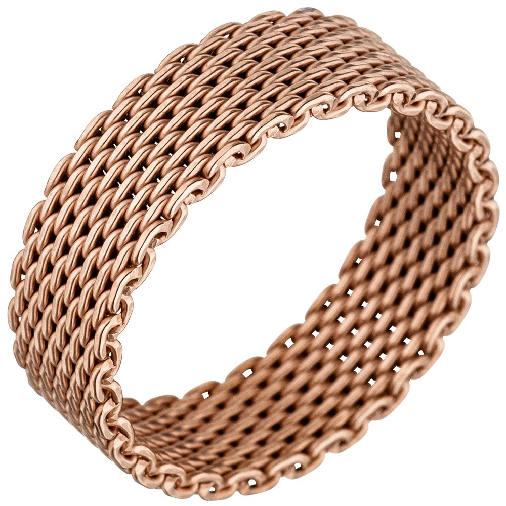Milanaise Ring Damenring aus 925 Silber Silberring rotgold vergoldet 6mm Breit