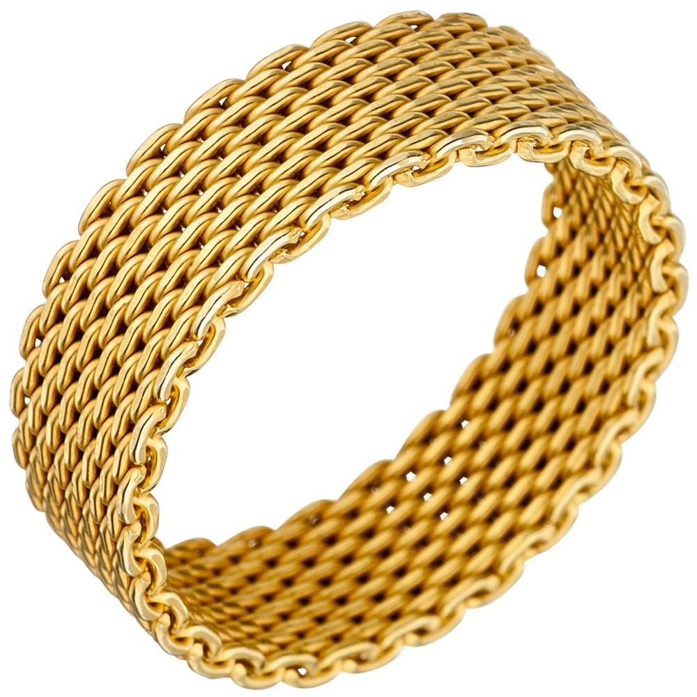 Milanaise Ring Damenring aus echtem 925 Silber Silberring vergoldet Breite 6mm
