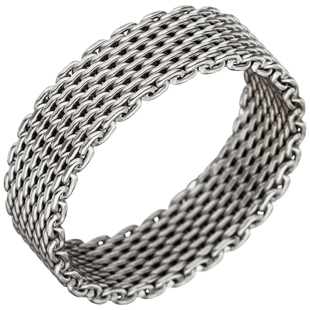 Milanaise Ring Damenring aus echtem 925 Silber rhodiniert Silberring Breite 6mm