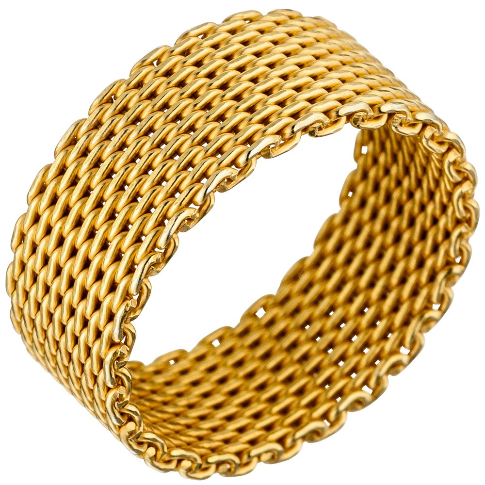 Milanaise Ring Damenring aus echtem 925 Silber Silberring 8mm breit vergoldet