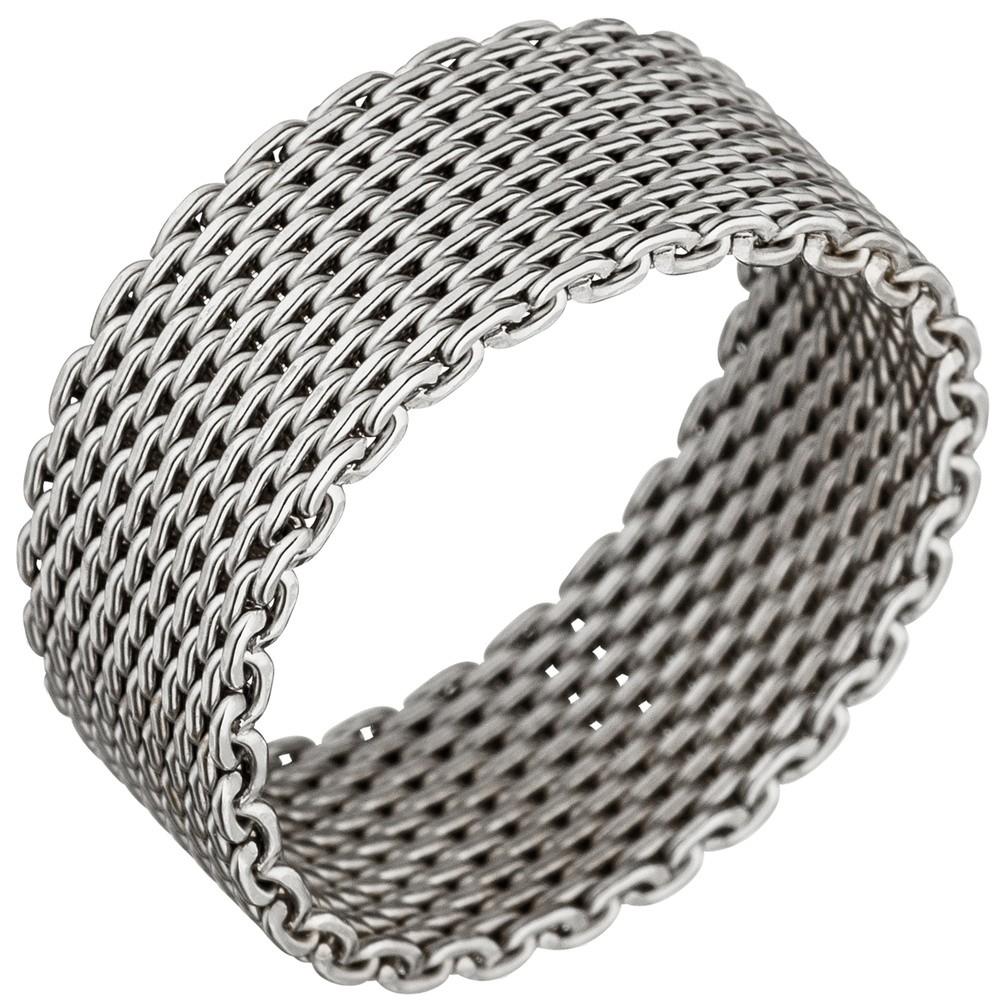 Milanaise Ring Damenring aus echtem 925 Silber rhodiniert Silberring 8mm breit
