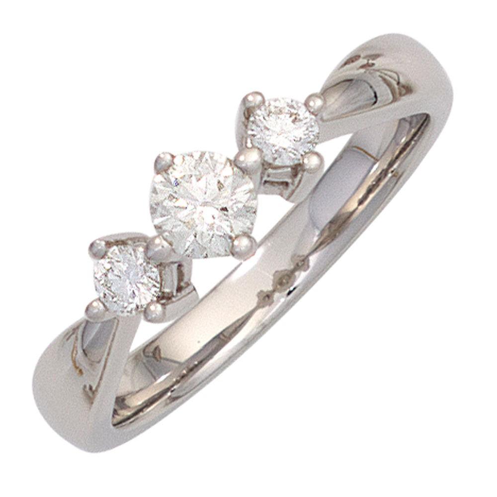 Ring Damenring 3 Diamanten Brillanten 0,50 Ct. 585 Gold Weißgold Dreistein-Ring