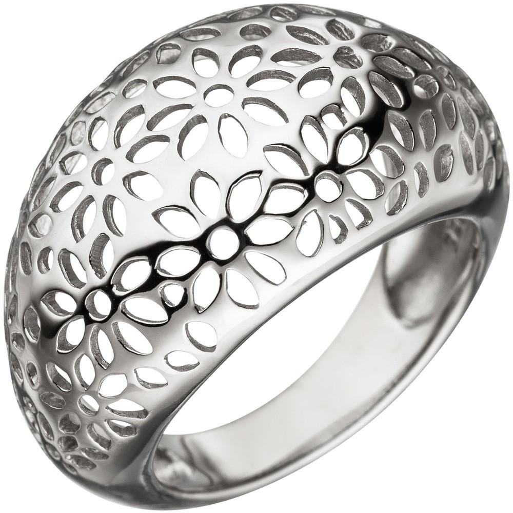 Breiter Ring Damenring Blumen Muster aus echtem 925 Silber mit Wölbung