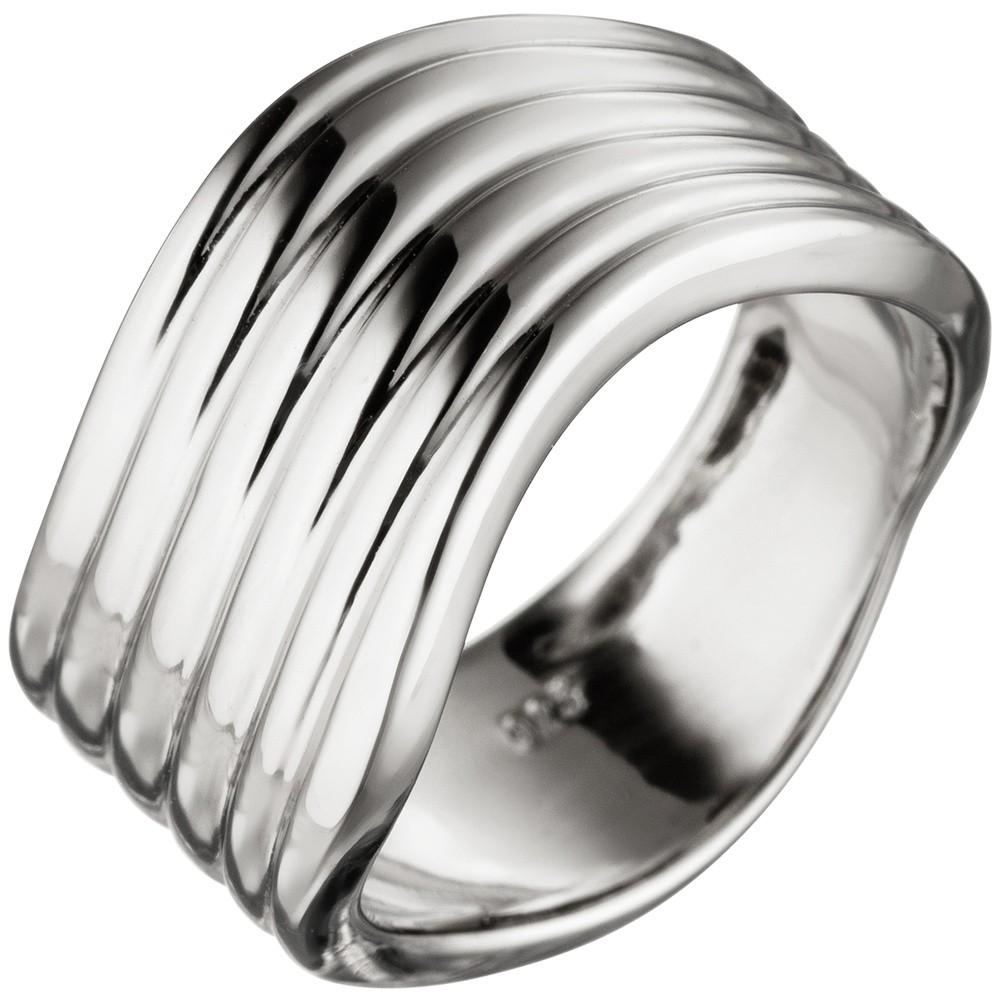 Breiter Ring Damenring gewellt aus echtem 925 Sterling Silber Silberring