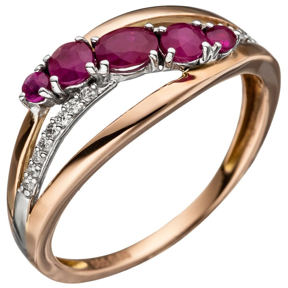 ring damenring mit rubin rot 16 diamanten brillanten 585 gold rotgold kategorien goldschmuck. Black Bedroom Furniture Sets. Home Design Ideas