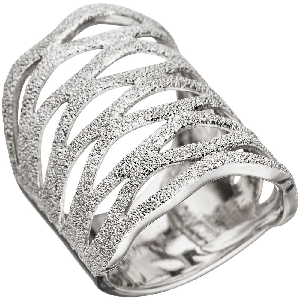 Breiter Ring Damenring aus 925 Silber mit Struktur Breite 26 mm Silberring