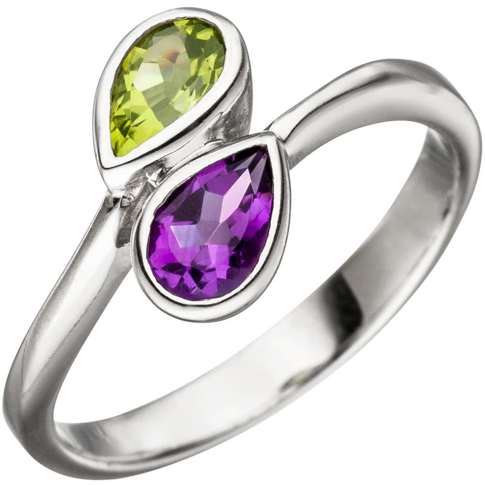 Ring Damenring mit Amethyst lila violett & Peridot grün 925 Silber Edelsteinring