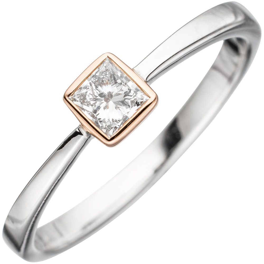 Ring Damenring mit Diamant Brillant 0,25 Ct. 585 Gold Weißgold & Rotgold bicolor