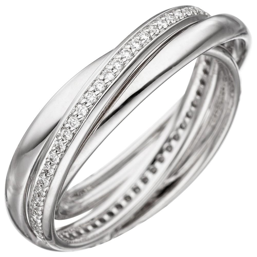 3-er Ring Damenring mit 58 Diamanten Brillanten rundum 585 Gold Weißgold