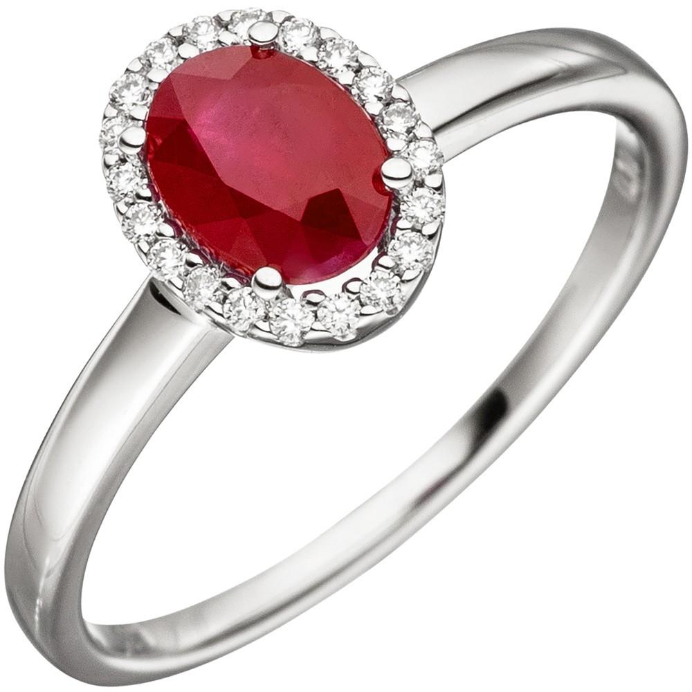 ring damenring mit rubin rot oval 20 diamanten brillanten 585 gold wei gold kategorien. Black Bedroom Furniture Sets. Home Design Ideas