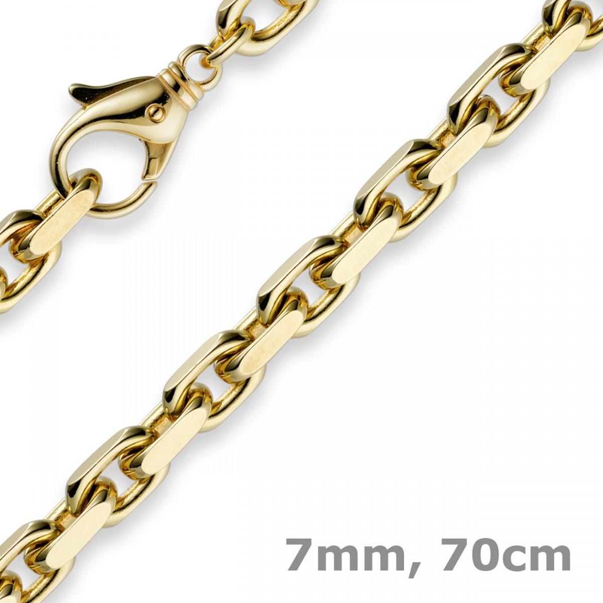7mm kette collier ankerkette aus 585 gold gelbgold 70cm. Black Bedroom Furniture Sets. Home Design Ideas