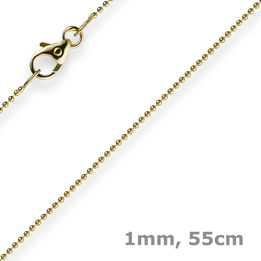 1mm kette goldkette halskette kugelkette aus 585 gold gelbgold 55cm damen. Black Bedroom Furniture Sets. Home Design Ideas