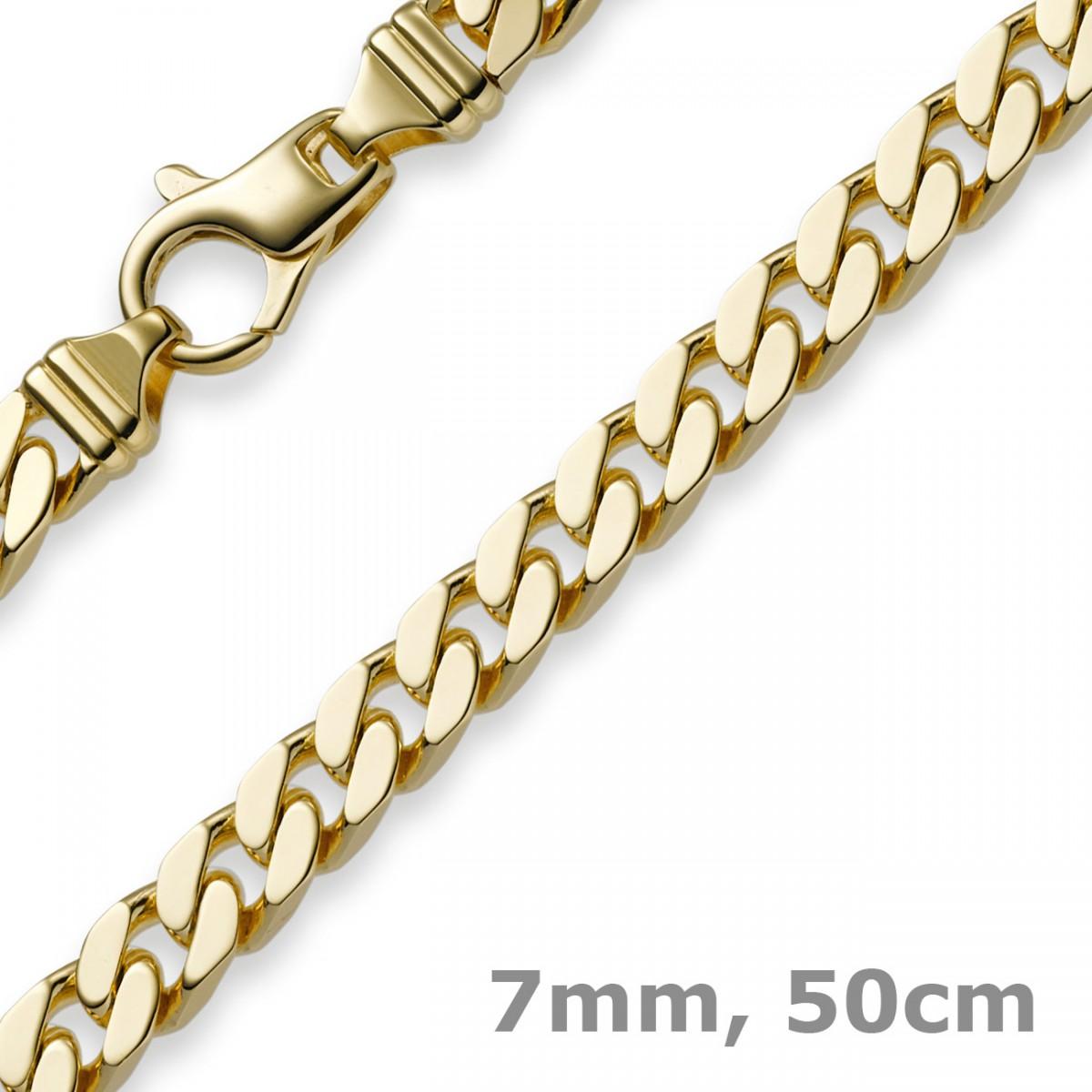 7mm Panzerkette Kette Collier aus 585 Gold Gelbgold
